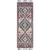 Alexander Home Sonnet Denim/Multi Wool Hand-hooked Rug - 2'6 x 7'6