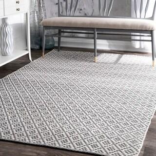 nuLOOM Handmade Flatweave Moroccan Trellis Cotton Grey Rug (10' x 14')