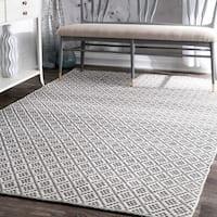 nuLoom Handmade Flatweave Moroccan Trellis Grey/Beige Cotton Area Rug (10' x 14')