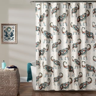 Lush Decor Hati Elephants Shower Curtain