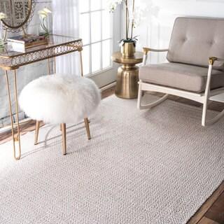 nuLOOM Handmade Flatweave Diamond Cotton Taupe Rug (10' x 14')