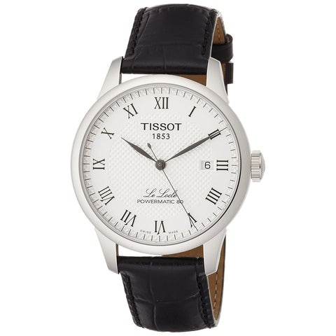 Tissot Men's T0064071603300 'Le Locle Powermatic 80' Automatic Black Leather Watch
