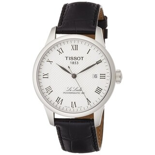 Tissot Men's T0064071603300 'Le Locle Powermatic 80' Automatic Black Leather Watch - N/A