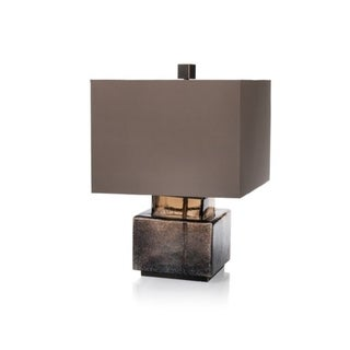 Zodax Elm Taupe Square Shade Blown Glass and Metal Base Table Lamp