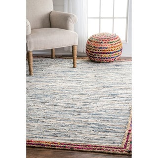 nuLOOM Handmade Braided Denim Rag Light Blue Rug (8'6 x 11'6)