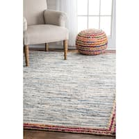 "nuLoom Light Blue Handmade Braided Denim Rag Rug (8'6 x 11'6) - 8'6"" x 11'6"""