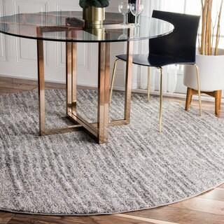 nuLOOM Contermporary Waves Solid Grey Round Rug (5' Round)