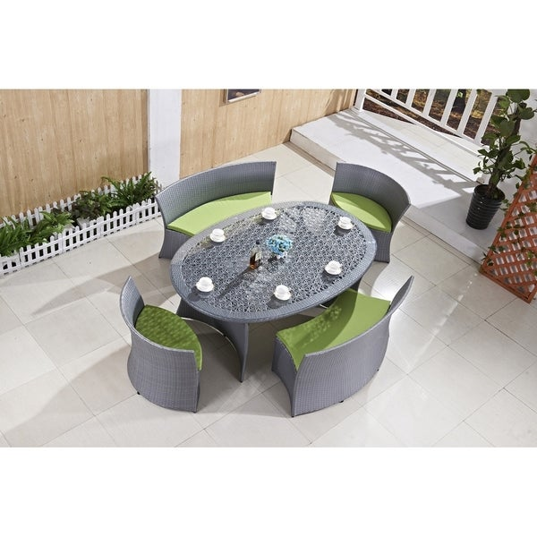 Ladeso Modern Outdoor Patio Dining Set 5 Pieces Oval Light Grey