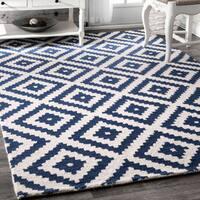 nuLoom Blue Wool Handmade Trellis Area Rug (8'6 x 11'6)