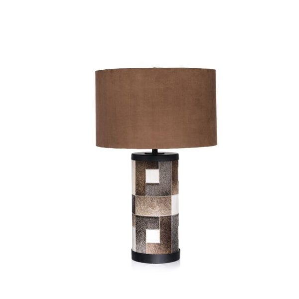 """29"""" Tall Leather Table Lamp, Fur Patchworks Coated"""