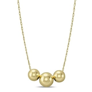10K Yellow Gold Three Ball Necklace