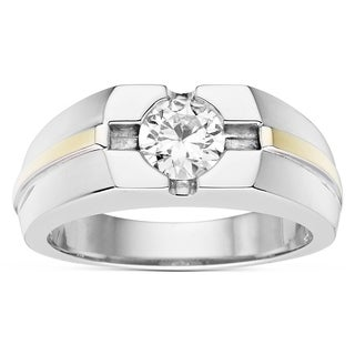 Charles & Colvard Sterling Silver and 10k Yellow Gold 1ct DEW Forever Classic Moissanite Men's Ring