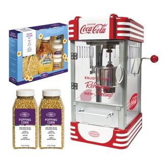 Nostalgia Coca-Cola Kettle Popcorn Popper Bonus Holiday Kit