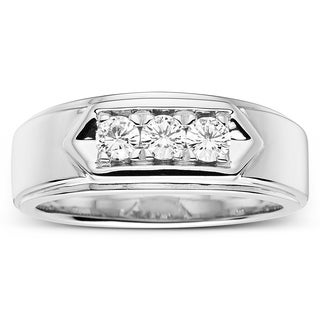 Charles & Colvard Sterling Silver 1/2ct DEW Forever Classic Moissanite Three Stone Men's Band