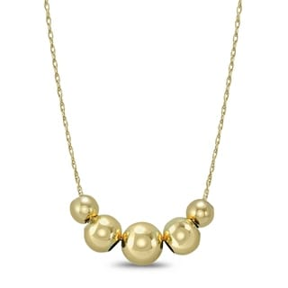 10K Yellow Gold 5 Ball Necklace