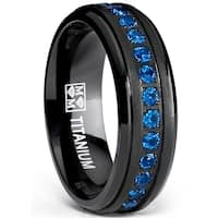 Oliveti Men's Black Titanium Wedding Band Eternity Ring Blue Cubic Zirconia 7mm
