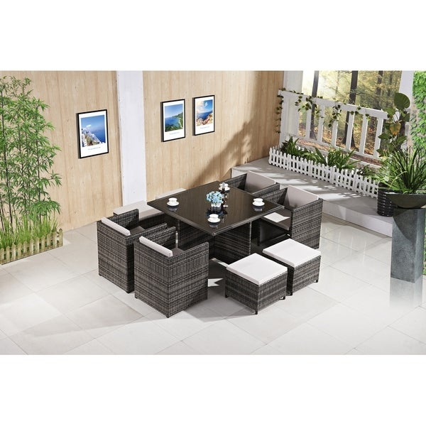 Ladeso Modern Outdoor Patio Dining Set 9 Pieces Square Light Grey