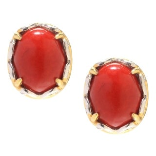 Michael Valitutti Palladium Silver Oval Matrix Red Bamboo Coral Stud Earrings