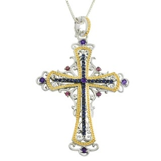 Dallas Prince Sterling Silver Vermeil Blue Sapphire, Rhodolite & Amethyst Cross Pendant