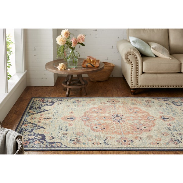 """Gracewood Hollow Pellico Blue Floral Pattern Area Rug - 7'6"""" x 10'"""