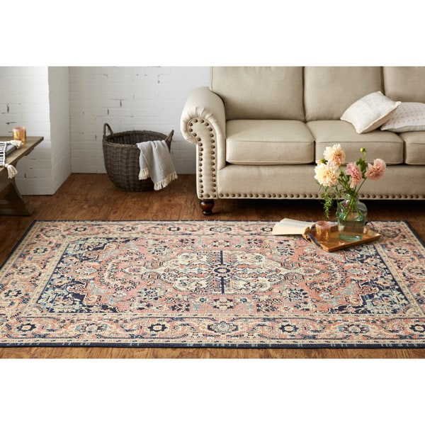 Mohawk Heirloom Collection Thame Tan/Blue Area Rug (7'6 x 10')