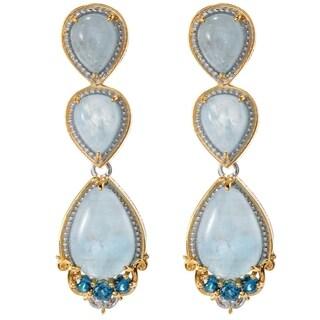 Michael Valitutti Palladium Silver Aquamarine & London Blue Topaz Drop Earrings