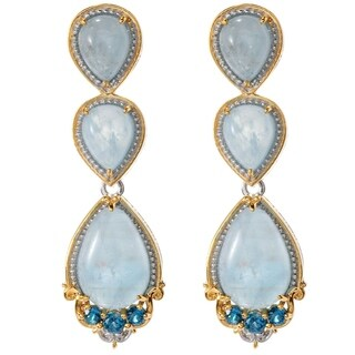 Michael Valitutti Palladium Silver Aquamarine & London Blue Topaz Drop Earrings