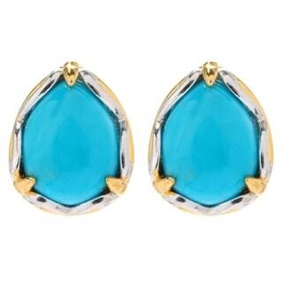 Michael Valitutti Palladium Silver Pear Arizona Turquoise Stud Earrings - Blue