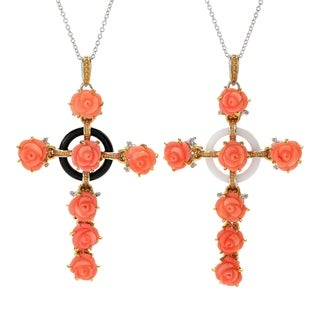 Michael Valitutti Palladium Silver Italy Carved Salmon Bamboo Coral Flower & Gemstone Cross Pendant