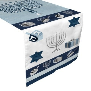 Laural Home Blue Hanukkah Table Runner