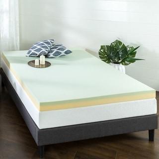 Priage by Zinus 4 inch Green Tea Memory Foam Mattress Topper