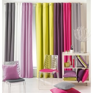 Evideco Panama Solid Cotton Grommet Window Curtain Panel