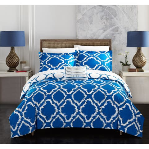 Chic Home Asya 8-Piece Reversible Blue Ikat Duvet Cover and Sheet Set