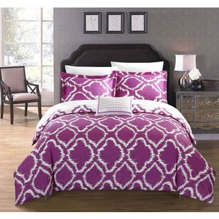 Chic Home Asya 8-Piece Reversible Lavender Ikat Duvet Cover and Sheet Set