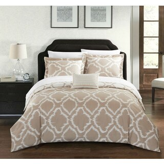 Chic Home Asya 8-Piece Reversible Beige Ikat Duvet Cover and Sheet Set