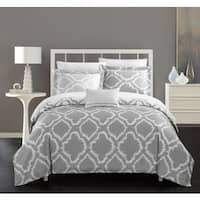 Chic Home Asya 8-Piece Reversible Grey Ikat Duvet Cover and Sheet Set