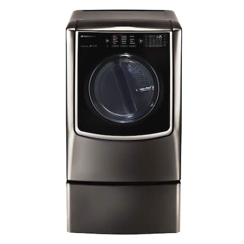 LG DLEX9500K LG SIGNATURE 9.0 Mega Capacity TurboSteam Electric Dryer in Black Stainless Steel