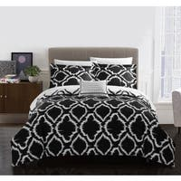 Chic Home Asya 8-Piece Reversible Black Ikat Duvet Cover and Sheet Set