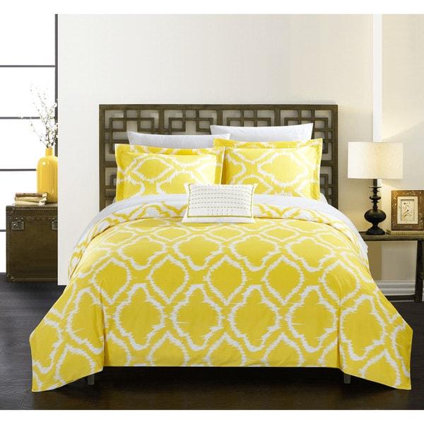 Shop Chic Home Asya 8 Piece Reversible Yellow Ikat Duvet
