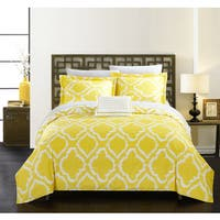 Chic Home Asya 8-Piece Reversible Yellow Ikat Duvet Cover and Sheet Set