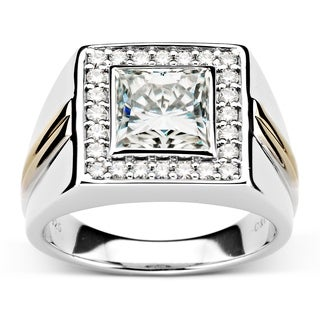 Charles Colvard Two Tone Sterling Silver 3 1 2ct DEW Square Forever Classic Moissanite Men S Ring