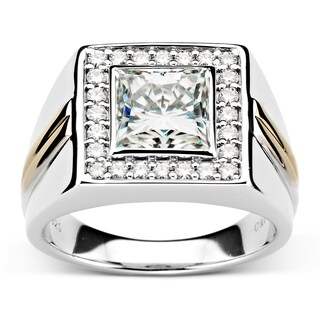 Charles & Colvard Two-tone Sterling Silver 3 1/2ct DEW Square Forever Classic Moissanite Men's Ring