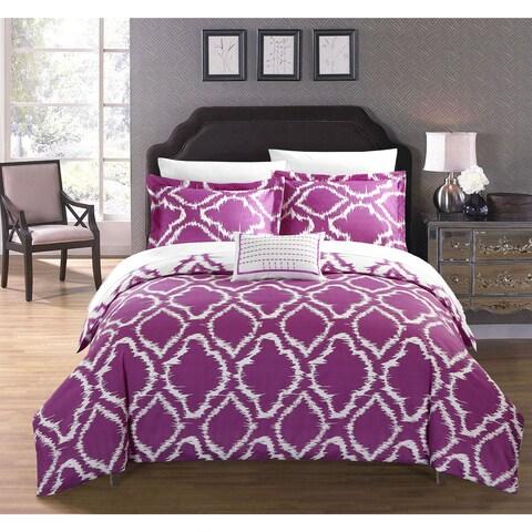 Chic Home Asya 4-Piece Reversible Ikat Lavender Duvet Cover Set