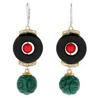 Michael Valitutti Palladium Silver Asia Black Onyx, Red Bamboo Coral & Carved Malachite Drop Earrings
