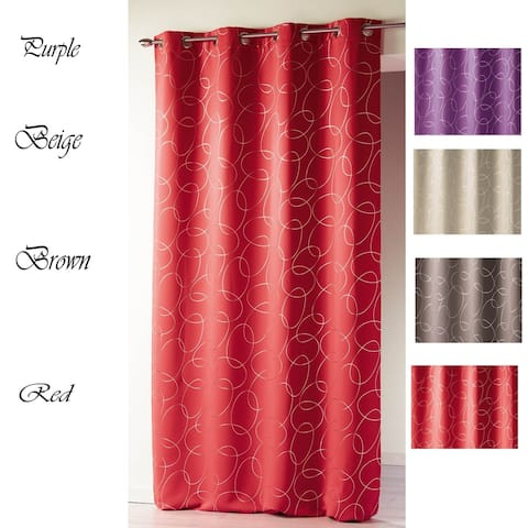 Evideco Printed Silver Blackout Silvermoon Curtain Panel Grommets