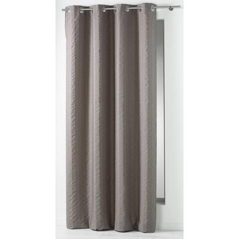 Evideco Striped Jacquard Crashed Curtain Panel Grommet Lineo