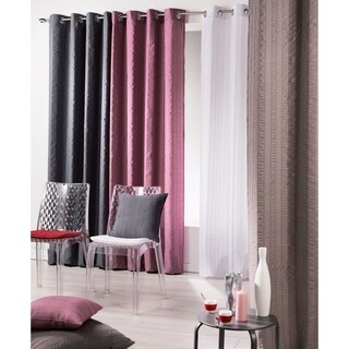 Evideco Striped Jacquard Crashed Curtain Panel Grommet Lineo
