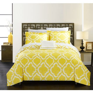 Chic Home Asya 4-Piece Reversible Yellow Ikat Duvet Cover Set