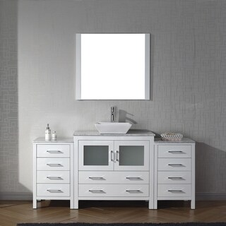 Virtu USA Dior 72-inch White Marble Single Bathroom Vanity Set with Faucet Options