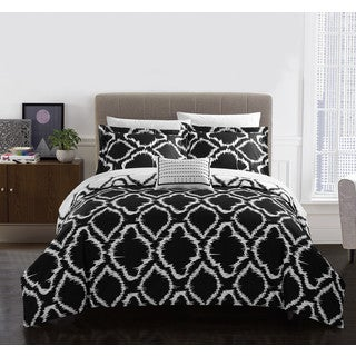 Chic Home Asya 4 Piece Reversible Black Ikat Duvet Cover Set